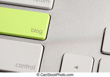 Blog Button - Highlighted blog button on computer keyboard.