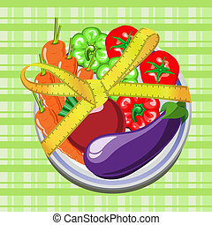 vegetables on a plate - vector illustration of vegetables on...