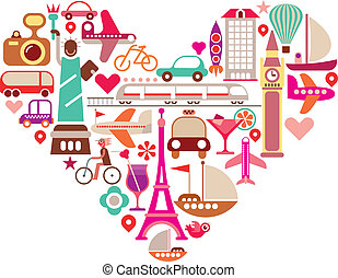 Travel Heart - Travel Love - shape of heart with many...
