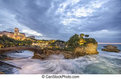 biarritz, crépuscule,  france