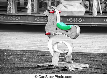 Rocking horse on the street attraction for children