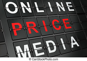 Advertising concept: Price on airport board background, 3d...