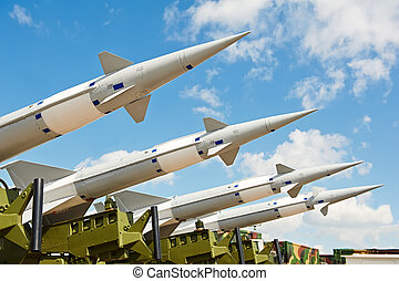 antiaircraft missles weapon aimed to the sky - defense...