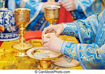 Orthodox Christian euharist sacrament ceremony - Christian...