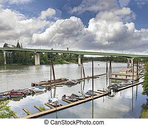 Boat Moorage Along Willamette River