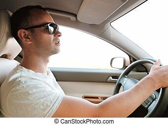 hombre, Manejar, coche, dentro, retoño