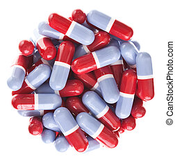 Perfect circle off Red and blue tablets texture