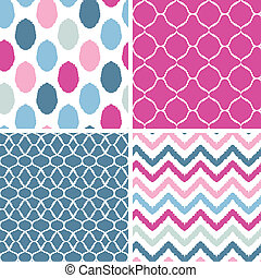 Set of blue and pink ikat geometric seamless patterns...