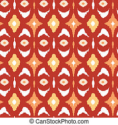 Red and gold ikat geometric seamless pattern background -...