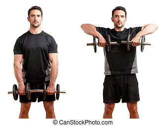 Dumbbell Upright Row - Personal Trainer doing dumbbell...