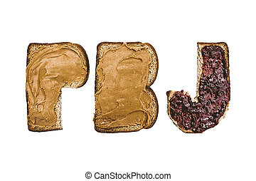 Peanut butter and jelly with bread cut out into the letters...