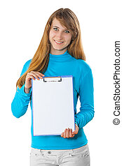 a young girl with clipboard