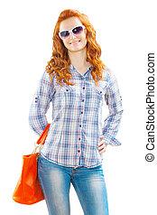 a young girl with handbag