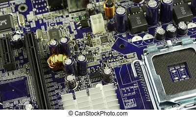 computer main board,electronic circuit assembly rotating.