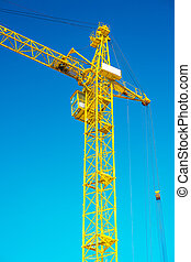 close up view on top of yellow construction crane