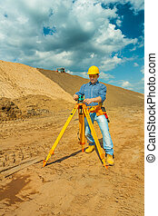 cntractor with theodolite