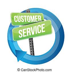 customer service road sign cycle illustration design over...
