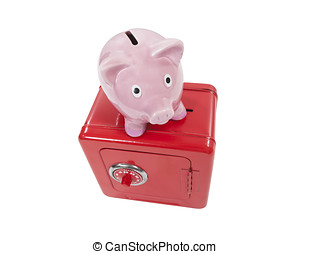 Vintage Piggy Coin Bank and Toy Safe Isolated - Vintage...