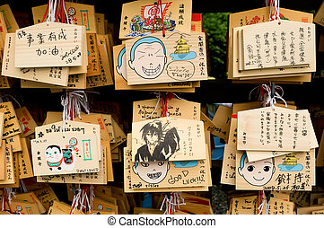 KYOTO - MAY 29 : plates with the wishes at Kinkakuji Temple...