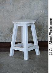 de madera, taburete, blanco, Color, cemento, pared