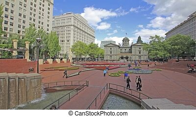 Portland Pioneer Courthouse Square - PORTLAND, OREGON, MAY...
