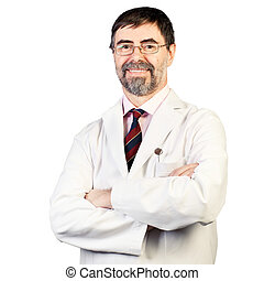 Portrait of happy middle-aged dentist on a white background,...