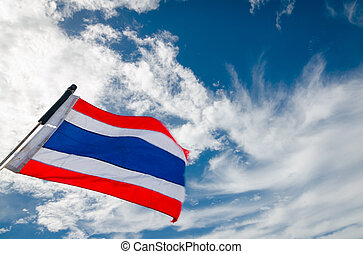 thailand flag waving against blue sky