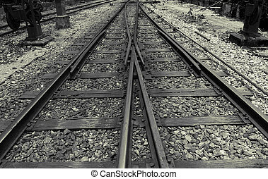 Confusing old railway tracks - The two tracks. Traffic is...