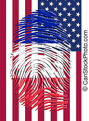 French American Flags Finger Print