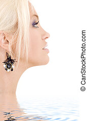 black jewelry - bright sideview picture of lovely blonde in...