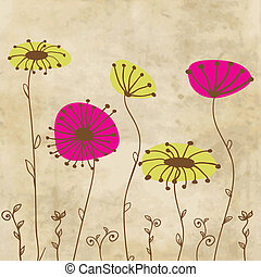 Vintage card with hand drawn flowers - Vintage greeting card...