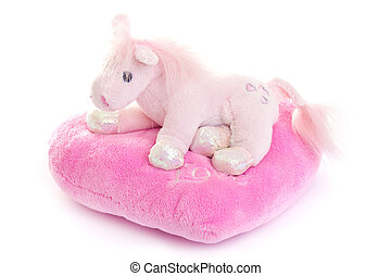 plush toy - Horse toy with heart isolated on a white...