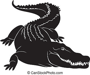 Big crocodile sign. vector image - Big crocodile with...