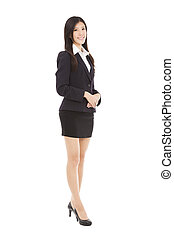full length business woman standing with isolated on white...
