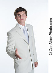 Young business man wearing white suit