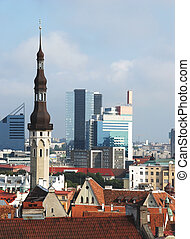 Tallin - Old and modern buildings in Tallinn (Estonia). The...