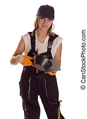 Bricklaying - Young worker woman with tools for bricklaying