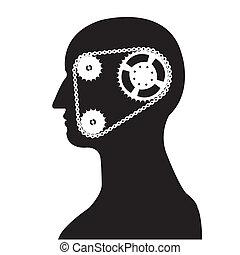 gear & chain brain silhouette vecto - silhouette of a man...