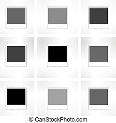 instant photo frame set on abstract grunge background in retro style