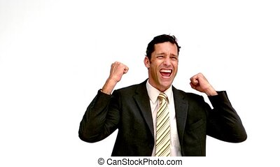 Excited businessman cheering in slow motion