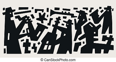 jazz band - abstract vector illustration