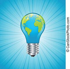 ライト, 地球, 電球, アイコン