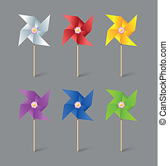 Paper pinwheels - Set of paper pinwheels isolated on grey...