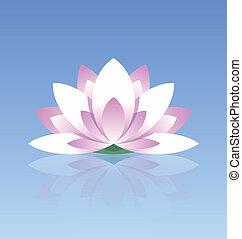 Lotus flower icon - Spiritual lotus flower icon on calm...