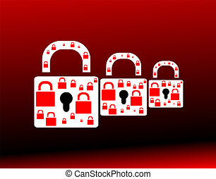 red glossy circle web icon on red background