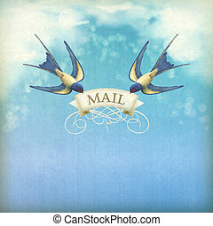Swallows mail vintage postcard Free flying birds swallows...