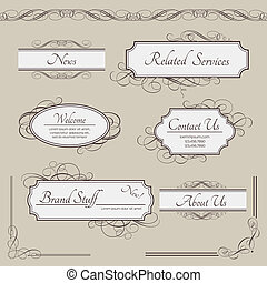 Set of vintage vector labels, frames, borders Retro elements...