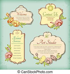 Set of vintage antique styled labels with flowers - Set of...
