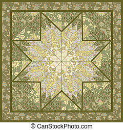 Quilting pattern background design with star motive -...