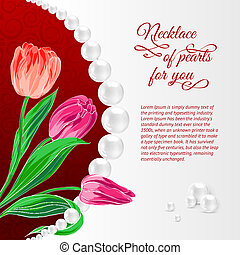 Pearl necklace on red. Vector illustration, contains...